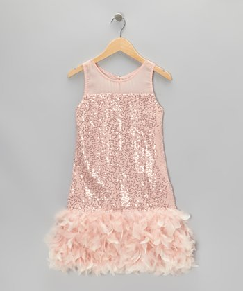 Blush Sequin Feather Dress