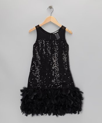 Black Sequin Feather Dress