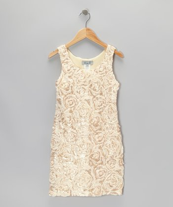 Cream Rose Sequin Dress