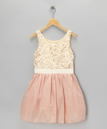 Pink Rose Sequin Ribbon Dress