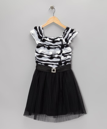 Gray & Black Pleated Dress