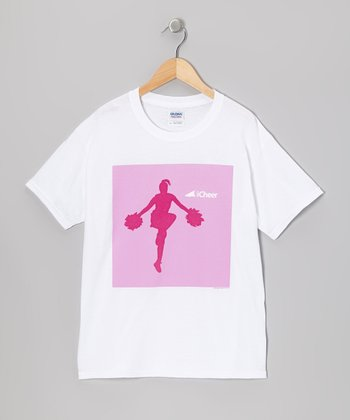 White & Pink Cheerleader Tee - Girls