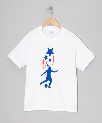 White 'USA Spirit' Soccer Kick Tee - Girls