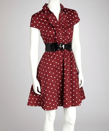 Burgundy & Ivory Polka Dot Belted Collared Dress