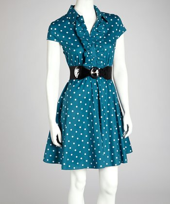 Teal & Ivory Polka Dot Collared Dress