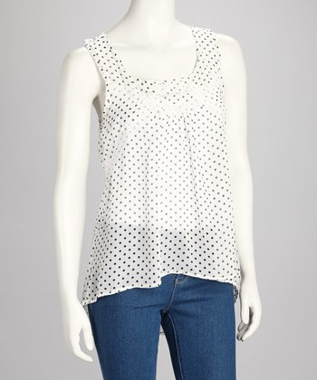 White & Black Polka Dot Tank