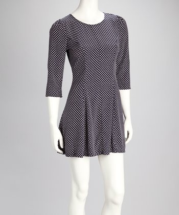 Navy Polka Dot Pleated Dress