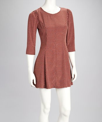 Rust Polka Dot Pleated Dress