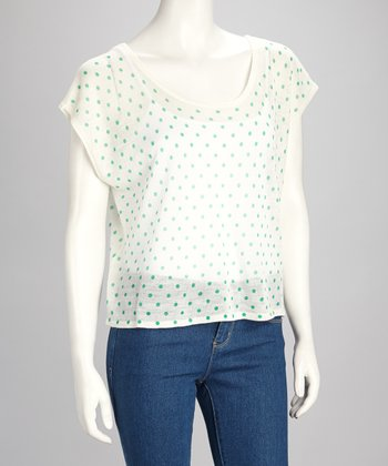 Ivory & Green Sheer Polka Dot Top