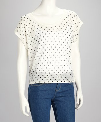 Ivory & Black Sheer Polka Dot Top