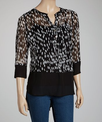 Black & Ivory Polka Dot Henley Top