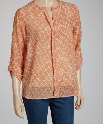 Coral & White Crocodile Three-Quarter Sleeve Top