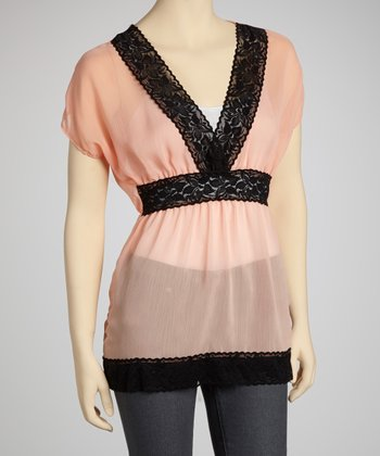 Peach & Black Chiffon Lace Cape-Sleeve Top