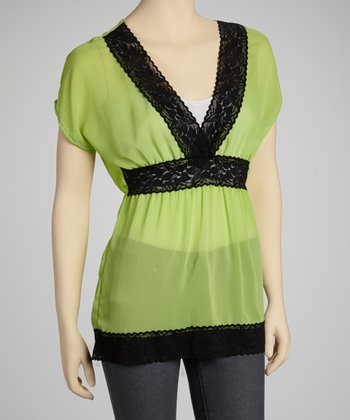 Green & Black Chiffon Lace Cape-Sleeve Top