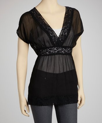 Black Chiffon Lace Cape-Sleeve Top
