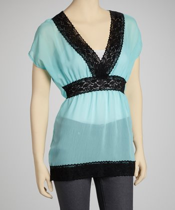 Blue & Black Chiffon Lace Cape-Sleeve Top