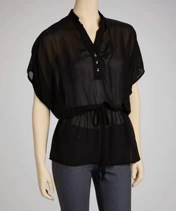 Black Chiffon Drawstring Cape-Sleeve Top