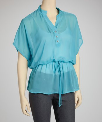 Blue Chiffon Drawstring Cape-Sleeve Top