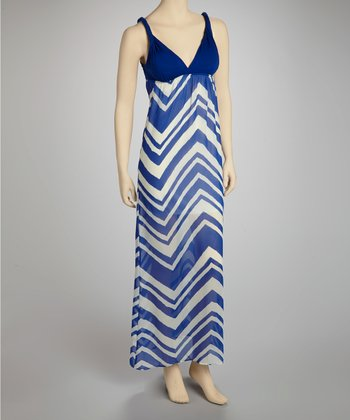Royal Blue & White Zigzag Maxi Dress