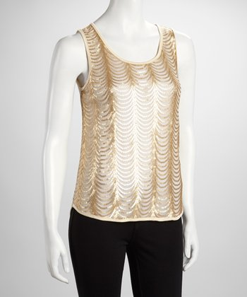 Gold Sheer Scallop Sequin Tank