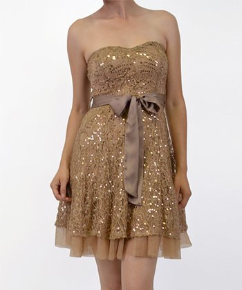 Taupe Sequin Chiffon Ruffle Strapless Dress