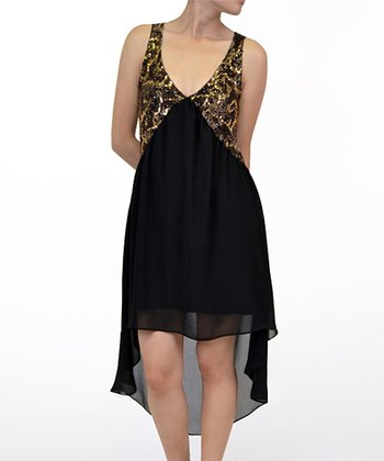 Black & Gold Sequin Hi-Low Dress