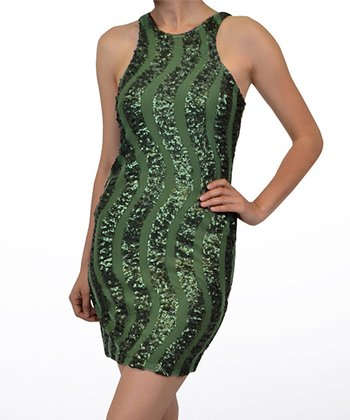 Green Sequin Squiggle Yoke Dress