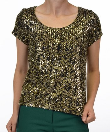 Black & Gold Sequin Lace Top
