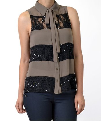 Mocha & Black Sheer Sequin Stripe Sleeveless Button-Up