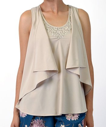 Beige Sequin Drape Panel Sleeveless Top