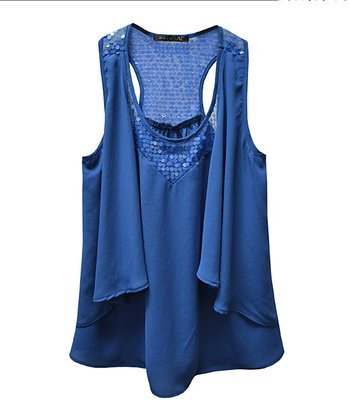 Blue Sequin Drape Panel Sleeveless Top