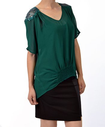 Green Sequin Shoulder V-Neck Top