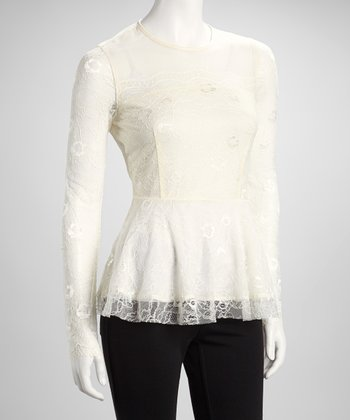 Off White Lace Sequin Peplum Top