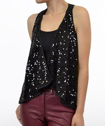 Black Sequin Layered Sleeveless Top