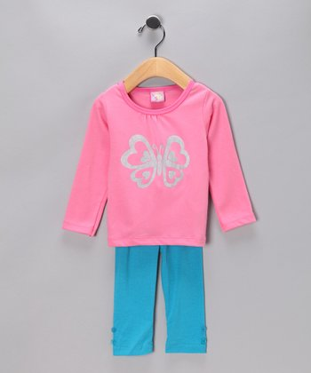 Pink Butterfly Top & Blue Pants