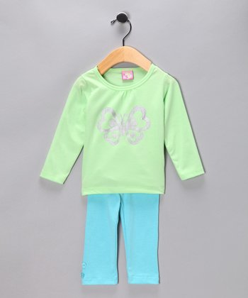 Light Green Butterfly Top & Aqua Pants