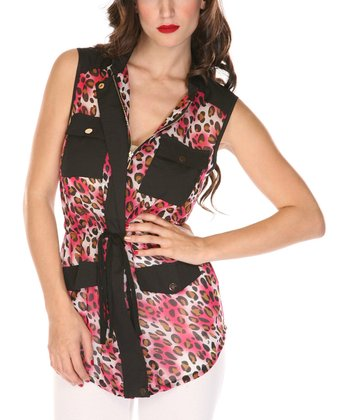 Fuchsia & Black Animal Sleeveless Top
