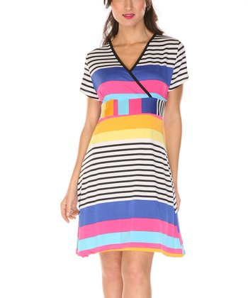 Blue & Pink Stripe Surplice Dress
