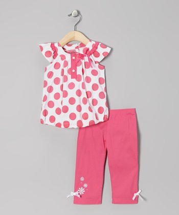 Fuchsia Polka Dot Bubble Tunic & Capri Pants - Infant
