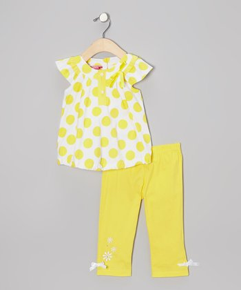 Yellow Polka Dot Bubble Tunic & Capri Pants - Infant