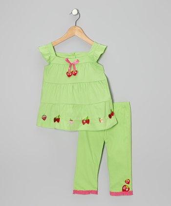 Lime Strawberry Tunic & Capri Pants - Infant