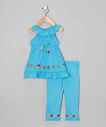 Turquoise Flower Dog Tunic & Capri Pants - Infant