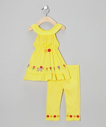 Yellow Flower Dog Tunic & Capri Pants - Infant