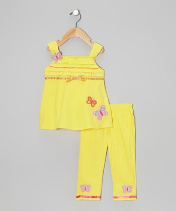 Yellow Butterfly Tunic & Capri Pants - Infant