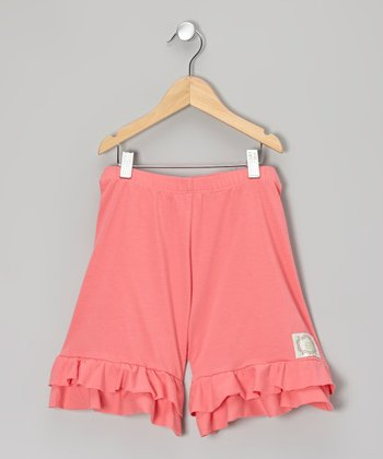 Coral Tiered Ruffle Shorts - Girls