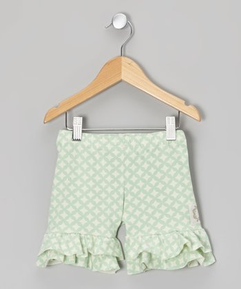 Fresh Mint Lattice Tiered Ruffle Shorts - Girls