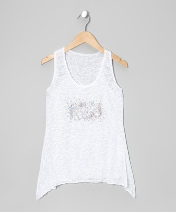 White 'Dance' Burnout Racerback Tank - Girls