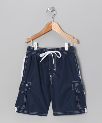 Navy Swim Trunks - Boys