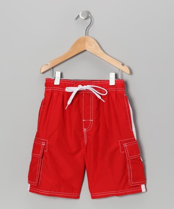 Red Swim Trunks - Boys