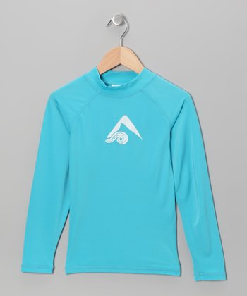 Aqua Logo Rashguard - Toddler & Girls